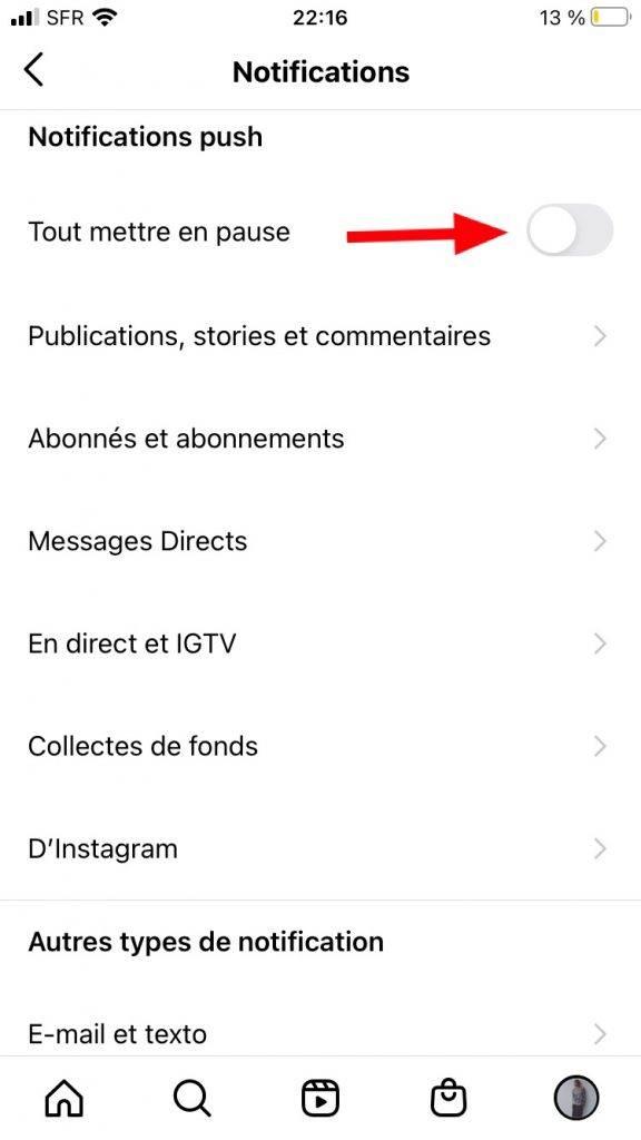 comment désactiver les notifications Instagram