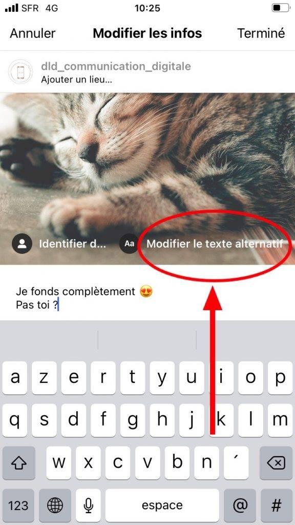 comment ajouter du texte alternatif dans un post Instagram